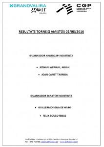 RESULTATS T-AMISTOS 26-07-16